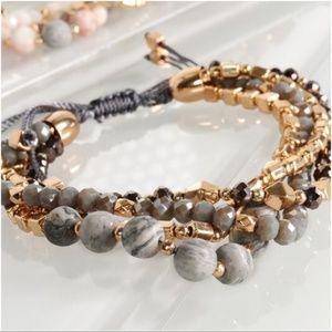 Jewelry - LAST ONE! Four layered gray/gold stone bracelet